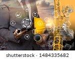 double exposure engineering... | Shutterstock . vector #1484335682