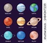 solar system planets  vector... | Shutterstock .eps vector #1484347235