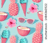 flowers and exotic fruits...   Shutterstock .eps vector #1484360522