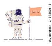 astronaut planting flag flat... | Shutterstock .eps vector #1484360648