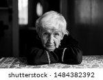 Old Woman Portrait In Dark Room ...
