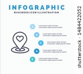 Location, Map, Location Finder, Pin, Heart Line icon with 5 steps presentation infographics Background. Vector Icon Template background