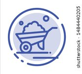 Barrow, Garden, Trolley, Truck, Wheelbarrow Blue Dotted Line Line Icon. Vector Icon Template background