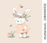 cute bunny girl met and...   Shutterstock .eps vector #1484440532