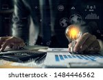 double exposure of graph and... | Shutterstock . vector #1484446562