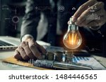 double exposure of graph and... | Shutterstock . vector #1484446565