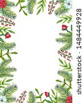 watercolor christmas frame with ... | Shutterstock . vector #1484449928