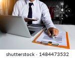 doctor using digital tablet... | Shutterstock . vector #1484473532