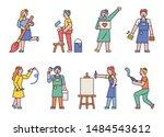 a set of artists' figures... | Shutterstock .eps vector #1484543612