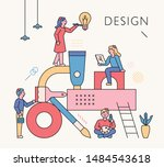 structure made of art supplies. ... | Shutterstock .eps vector #1484543618