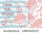 cute whale in the sea with... | Shutterstock .eps vector #1484565215