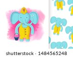 cute elephant firefighter and... | Shutterstock .eps vector #1484565248