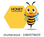 cartoon cute bee spread hands... | Shutterstock .eps vector #1484578655