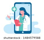 online doctor women healthcare... | Shutterstock .eps vector #1484579588