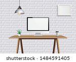 realistic vector office... | Shutterstock .eps vector #1484591405