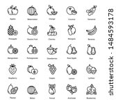 fruits icon vector pack perfect ... | Shutterstock .eps vector #1484593178