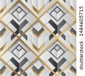 geometric decor stripes white... | Shutterstock .eps vector #1484605715