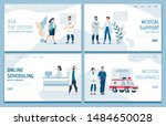 flat medical landing page set... | Shutterstock .eps vector #1484650028