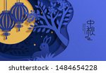 Stock vector lovely paper art mid autumn festival poster with rabbits and the full moon in blue tone holiday 1484654228