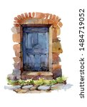 Old Blue Franch Door Watercolor ...