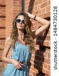 european girl in sunglasses... | Shutterstock . vector #1484730128