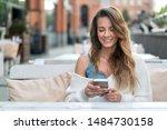 beautiful girl writes message... | Shutterstock . vector #1484730158