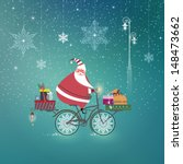 cute santa claus on bicycle... | Shutterstock .eps vector #148473662
