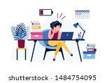 frustrated female office worker.... | Shutterstock .eps vector #1484754095