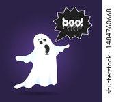 flying halloween funny spooky...   Shutterstock .eps vector #1484760668