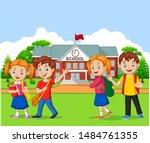 happy school children in front... | Shutterstock .eps vector #1484761355