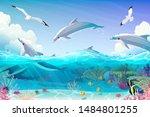 Vector Cartoon Underwater Sea ...