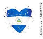 nicaraguan flag in the form of... | Shutterstock .eps vector #1484826755