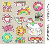 set of fashion patches  cute... | Shutterstock .eps vector #1484839742