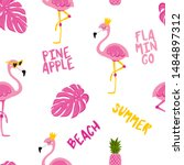 cute flamingo background  ... | Shutterstock .eps vector #1484897312