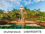 Small photo of High steep water slide on Tenerife water park, Canary island, Spain