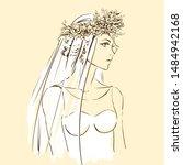 elegant bride in beautiful... | Shutterstock .eps vector #1484942168