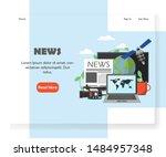 news landing page template....   Shutterstock . vector #1484957348