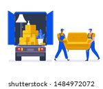 moving house service. moving... | Shutterstock .eps vector #1484972072