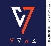 orange white cv7 vector logo | Shutterstock .eps vector #1484974772