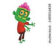cartoon funny green zombie....   Shutterstock .eps vector #1485016838