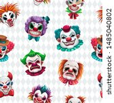 seamless pattern with scary... | Shutterstock .eps vector #1485040802