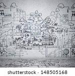 business ideas sketch drawn on... | Shutterstock . vector #148505168