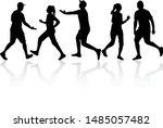 running   black silhouettes ... | Shutterstock .eps vector #1485057482