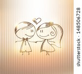 hand drawn wedding couple on... | Shutterstock . vector #148506728