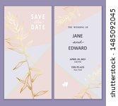 floral vector card set ... | Shutterstock .eps vector #1485092045