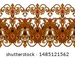 seamless border in rococo style ... | Shutterstock .eps vector #1485121562