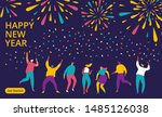 people celebrating new year ... | Shutterstock .eps vector #1485126038