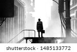 the unknown person in a cloak ... | Shutterstock . vector #1485133772