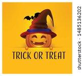 halloween party pumpkin tricks... | Shutterstock .eps vector #1485136202