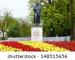 KALININGRAD, RUSSIA - MAY 11: Statue of Johann Christoph Friedrich von Schiller, a German poet, philosopher, historian and playwright on may 11, 2013 in Kaliningrad, Russia.  - stock photo